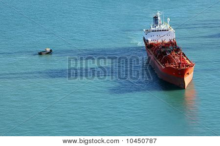 Chemical Tanker Ship Seen From The Above