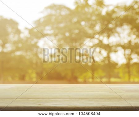 Empty Table And Blurred Sunset Tree  Background For Your Product Display Montage