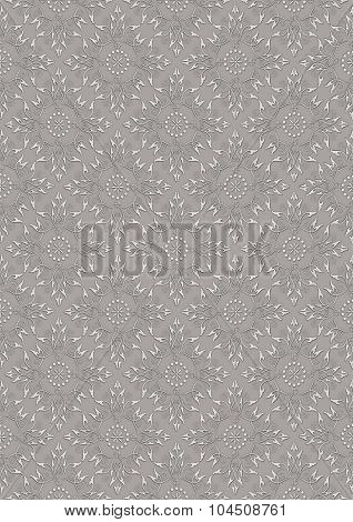 Gray seamless background with light beige embossed floral pattern