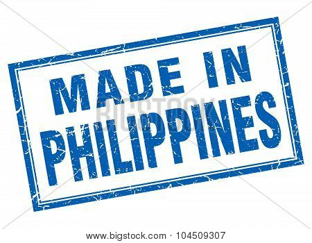 Philippines Blue Square Grunge Made In Stamp