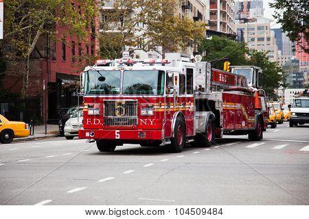 NEW YORK CITY, USA - SEPTEMBER, 2014: Fire truck in New York City
