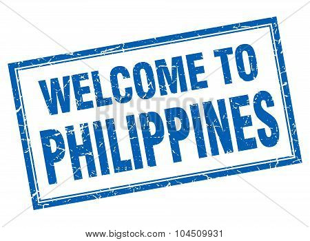 Philippines Blue Square Grunge Welcome Isolated Stamp
