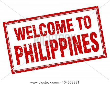 Philippines Red Square Grunge Welcome Isolated Stamp