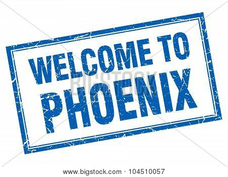 Phoenix Blue Square Grunge Welcome Isolated Stamp