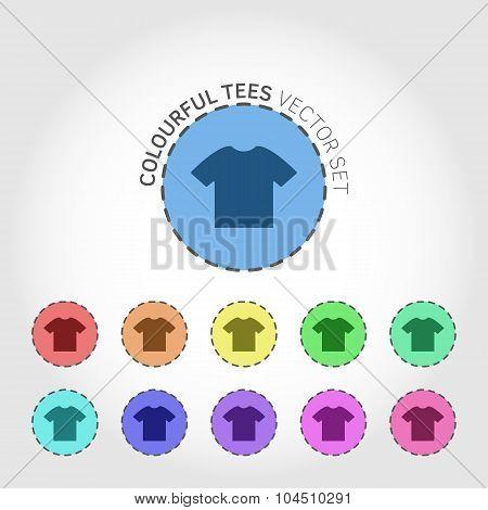 T-shirt round icon set