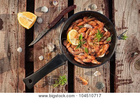 Fried Shrimp In The Pan, Top View