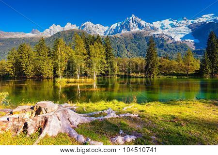 City Park is illuminated by the setting sun. The mountain resort of Chamonix, Haute-Savoie. The lake reflected the snow-capped Alps and evergreen spruce