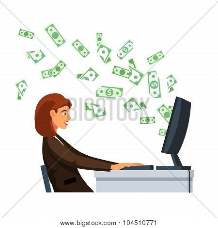 Businesswoman sitting in front of computer screen