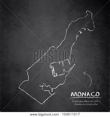 Monaco map blackboard chalkboard vector