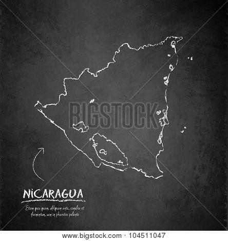 Nicaragua map blackboard chalkboard vector