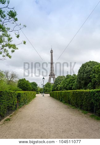 Eiffel Tower At Champ De Mars Park In Paris