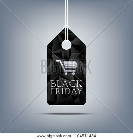 Black friday sale tag with shopping cart on dark low poly background. Price tag template for promoti