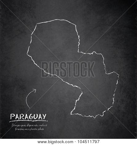 Paraguay map blackboard chalkboard vector