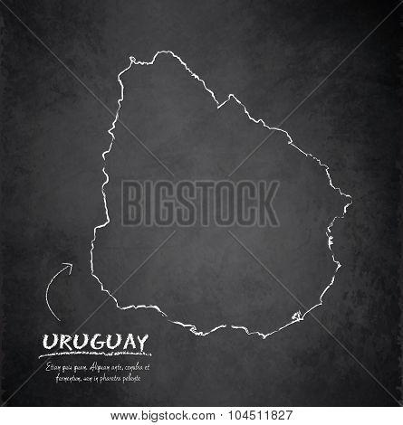 Uruguay map blackboard chalkboard vector