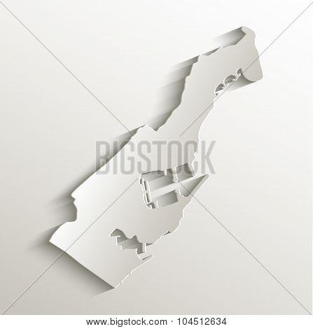 Monaco map card paper 3D natural raster