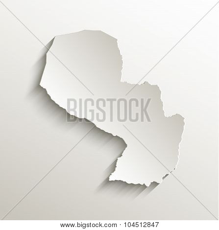 Paraguay map card paper 3D natural raster