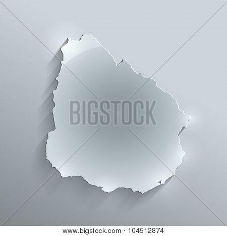 Uruguay map glass card paper 3D raster