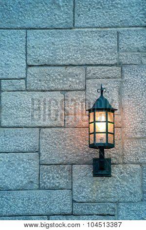 Vintage lamp on street of Quebec City