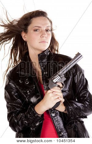 Woman Gun Hair Blowing