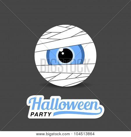 Illustration Halloween mummy eyes with stylish text.
