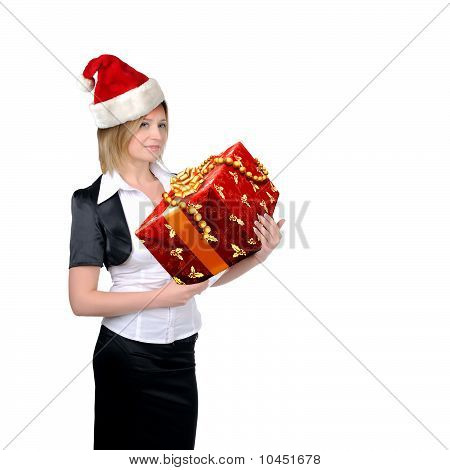 young girl in a Santa hat