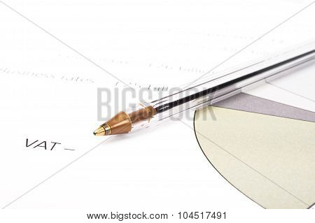 Plastic Ball Pen On A Diagram For Vat Costs