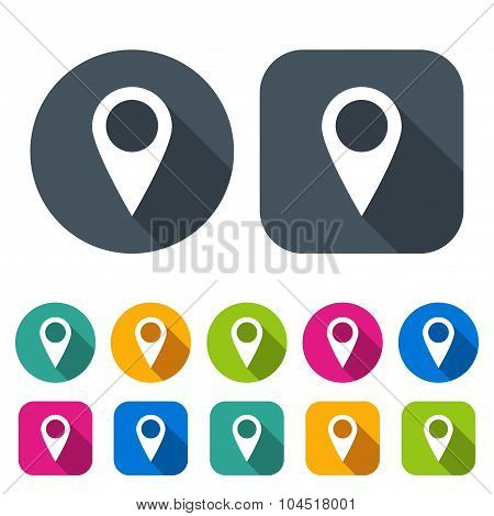 Set Pointers Icons For Map In The Style Flat Design Different Color On A White Background