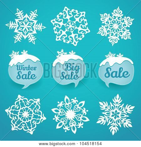 Collection of snowflakes and sale lables. Winter discount