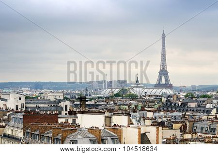Paris, France - May 15, 2015: Eiffel Tower And Grand Palais With Roofs Of Paris