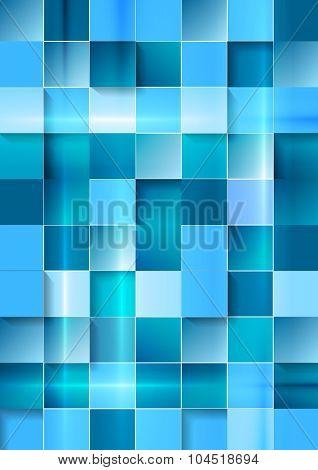 Bright geometric tech blue squares background. Vector design