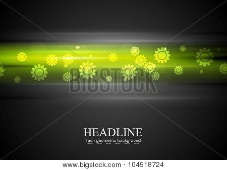 Green glowing stripes and gears. Vector tech background