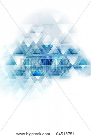 Blue white tech abstract triangles design. Vector background