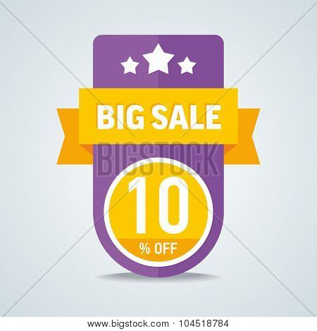 Big sale of 10 percent of the label with a yellow ribbon. Vector illustration.