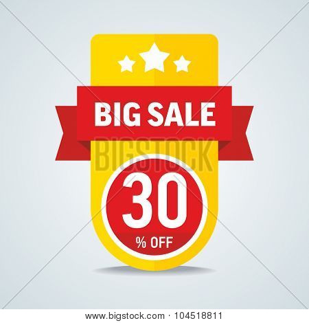 Big sale of 30 percent of the label with a red ribbon. Vector illustration.