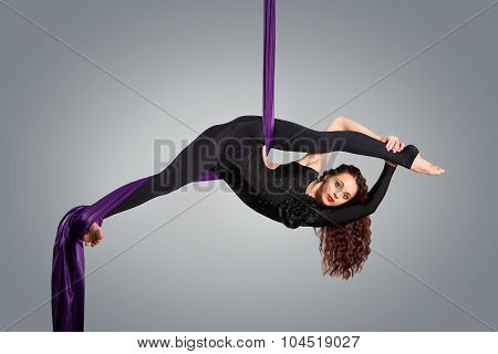 Beautiful Dancer On Aerial Silk, Aerial Contortion, Aerial Ribbons, Aerial Silks, Aerial Tissues, Fa
