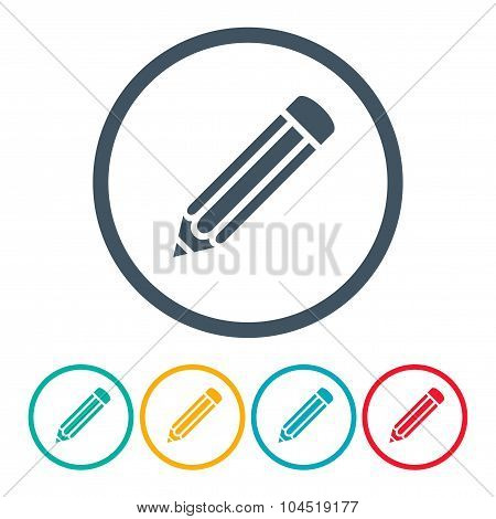 Set Pencils Icons Different Color On The White Background. Stock Vector Illustration Eps10
