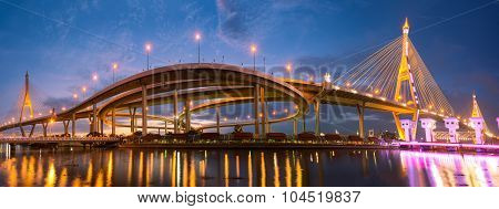 Landscape Sunset Of Bhumibol Bridge