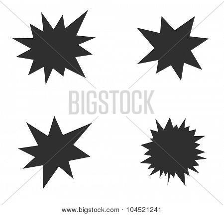 starburst splash star black icon set