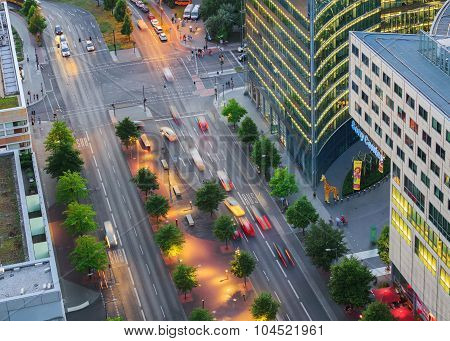 Berlin, Germany, - August 29, 2015: Potsdamer platz from above