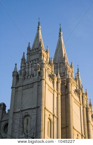 Salt Lake Temple West Spires At Dusk