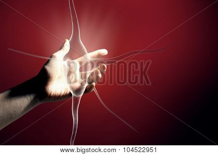 Close up of man hand touching nerve symbol