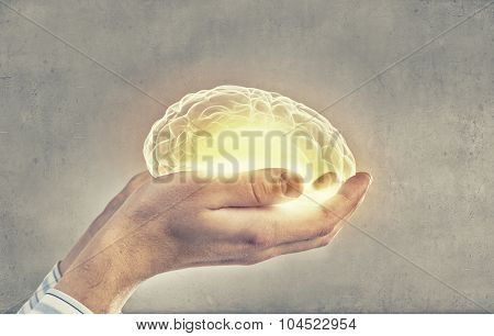 Close up of human hand holding brain