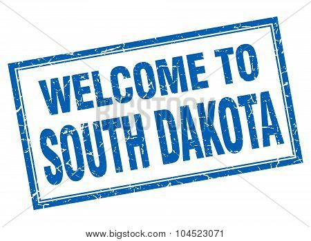 South Dakota Blue Square Grunge Welcome Isolated Stamp