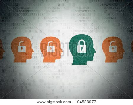 Business concept: head with padlock icon on Digital Paper background
