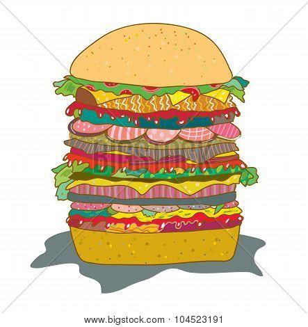 Hamburger With Salad Funny Cartoon