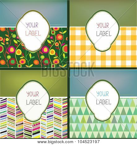 Set Of Abstract Labels With Pattern For The Products