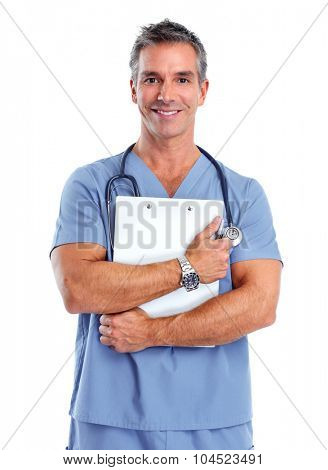 Young medical doctor man isolated over white background.