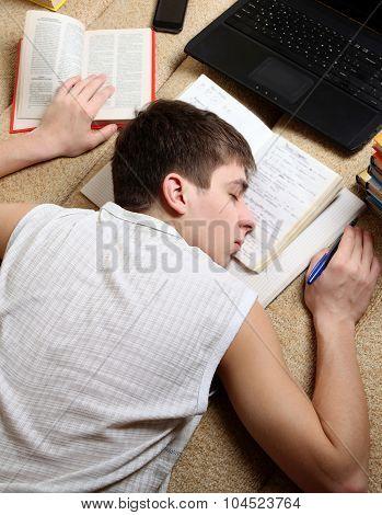 Teenager Sleep On The Books