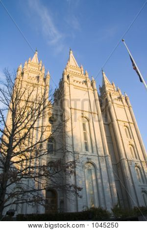 Salt Lake Temple West Side At Dusk