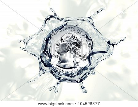Quarter Dollar Coin Splashing Into Water